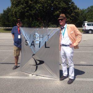 Kiteman Light Sail replica with Bill Nye