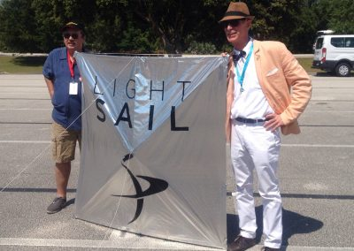 Kiteman Light Sail replica with Bill Nye